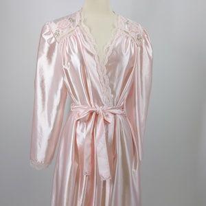 Lorraine pink night gown w lace-sz M